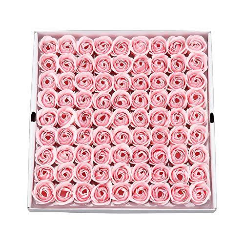 HOUSWEETY 81Pcs Bath Soap Rose Flower, Floral Scented Rose Petal Bouquet