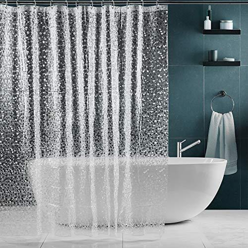 SPARIN 180x180cm Klar Duschvorhang Anti-Schimmel, Anti-Bakteriell, PEVA wasserdichter Badvorhang Transparent Kieselsteine [Umweltfre&lich] [Waschbar], Bad Vorhang für Badzimmer