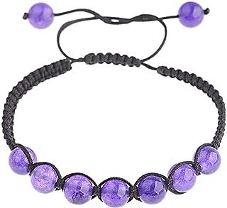 Brosco 7 Chakra Healing Balance Beaded Bracelets Braided Stone Yoga Reiki Prayer Bangle Good Charms Fashion Accessories Best | Color - Amethyst