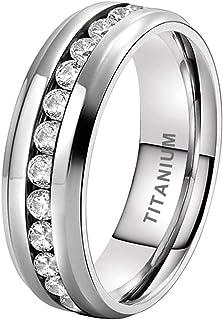 iTungsten 6mm Titanium Rings for Women Men Eternity Wedding Engagement Bands White/Blue Cubic Zirconia Inlay Beveled Edges...