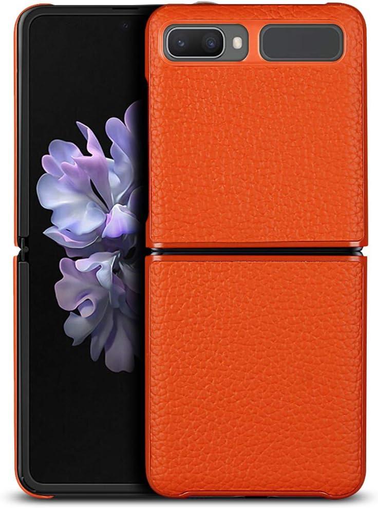 Jaorty Galaxy Z Flip/Z Flip 5G Case,Ultra Slim Thin Litche Partten Premium Genuine Leather Shook-Proof Bumper Protective Cover Case for Samsung Galaxy Z Flip (2020),Orange