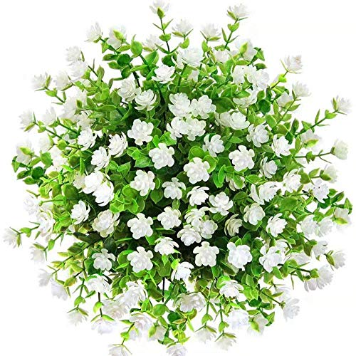 Kimura's Cabin Fake Flowers Artificial Greenery Boxwood Plants Outdoo UV Resistant Shrubs 6Pcs for Home Dining Table Core Wedding Party Decoration (White,Pack of 6)