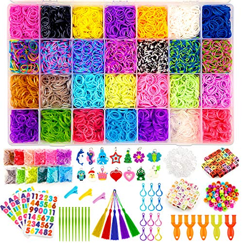 Kaqinu 21000+ Rubber Bands Refill Kit, Over 19500 Premium Loom Bands, 1200 S-Clips, 402 Beads, 30 Charms, 5 Y Looms, ABC Stickers, Crochet Hooks, Backpack Hooks with Organizer Box for Kids