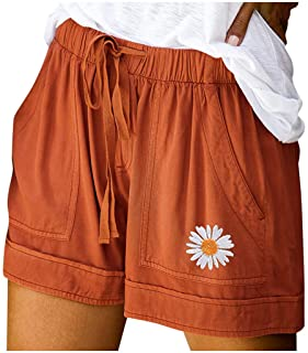 Beishi Womens Summer Embroidered Shorts Drawstring Elastic Waist Pockets Casual Pants Shorts