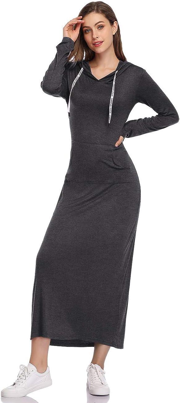 GloryStar Women Long Sleeve Pullover Hoodie Dress Stripe Pocket Slim Sweatshirt Casual Maxi Dress