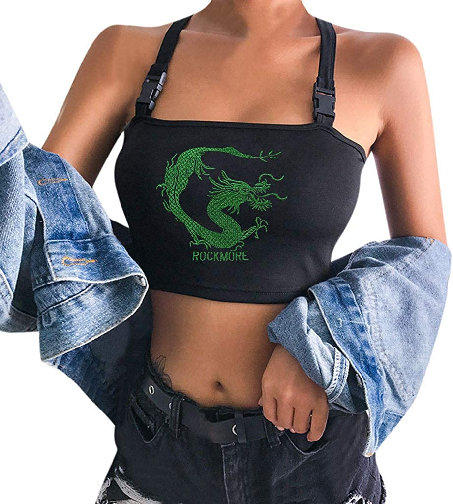 MASZONE Women's Tank Tops Fashion Dragon Embroidery Sleeveless Backless Criss Cross Yoga Crop Tops Slim Camisole Shirts