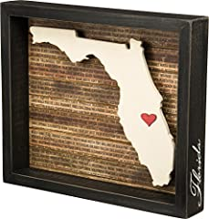 Inset box sign with a dimensional Florida state silhouette and background list of the most populated cities Measures 11. 75 x 10-inches; black distressed style frame with the state name hand lettered on side of frame Includes adhesive mini red heart ...