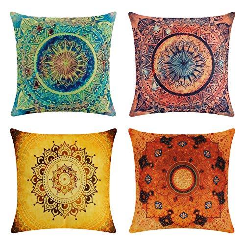 tronisky Juego de 4 fundas de cojín decorativas, estilo indio, hippie, bohemio, mandala, flores, cojín decorativo, de algodón y lino, funda para sofá, decoración del hogar, 45 x 45 cm