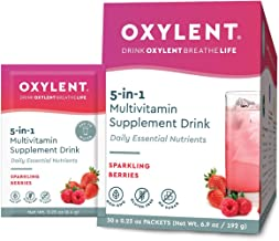 Oxylent 5-in-1 Multivitamin Supplement Drink - Sugar-Free & Effervescent for Easy Absorption of Vitamins, Minerals, Electrolytes, Antioxidants, Sparkling Berries Flavor, 30 Count