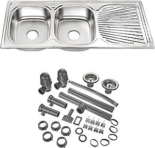 Melko Edelstahlspüle 2 Becken Küchenspüle Waschbecken Spülbecken Doppelspüle mit Abtropffläche