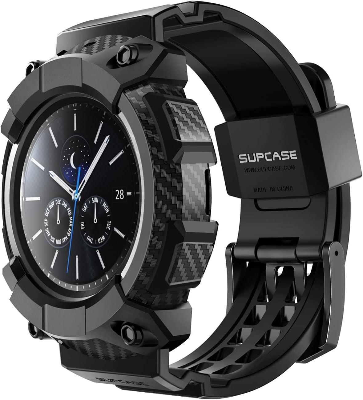 SupCase Funda Galaxy Watch Active 3 45mm [Unicorn Beetle Pro] Cubierta Protectora y Bandas de Correa Compatible con Samsung Galaxy Watch Active 3 45mm (Negro)