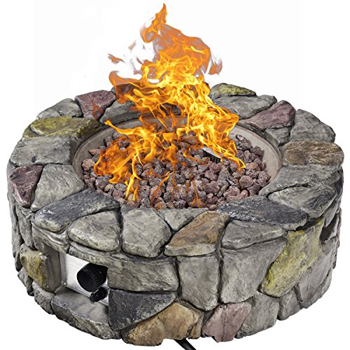 Giantex Gas Fire Pit, 28 Inch 40,000 BTU Propane Fire Pit Outdoor w/ Natural Stone, Cover, ETL Certification, Stainless-Steel Gas Burner w/ Electronic Ignition Lava Rock (Gray)