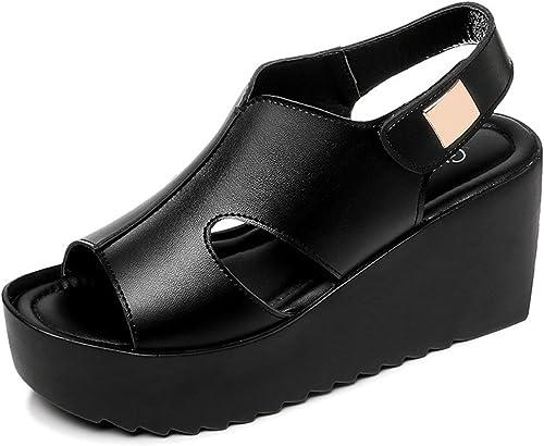 GTVERNH-Chaussures pour Femmes DE 8 Cm De Talon Haut Sandales épais Bas en été