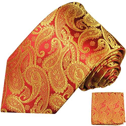 Krawatten Set 2tlg 100% Seide rot gold paisley Hochzeit festliche Hochzeitskrawatte mit Einstecktuch