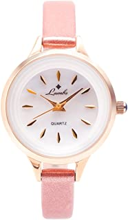 Girls Watches,Ladies Fashion Casual Waterproof Mother-of Pearl Dial Wrist Watches for Young Girls Easy to Read Times with Genuine Leather Band Watches(Pink/Black/White/Silver)