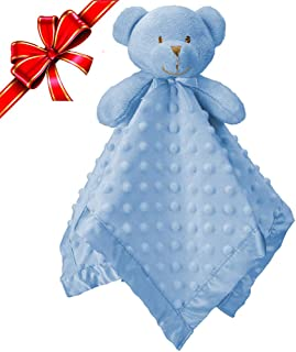 "Pro Goleem Teddy Bear Baby Lovey Stuffed Plush Lovie/Security Blanket for Boys and Girls Minky Dot Best Thanksgiving Day for Newborn/Infant/Toddler (Blue, 15"")"