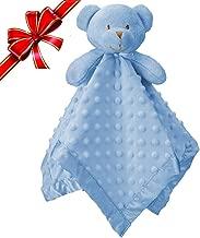"""Pro Goleem Teddy Bear Baby Lovey Stuffed Plush Lovie/Security Blanket for Boys and Girls Minky Dot Best Thanksgiving Day for Newborn/Infant/Toddler (Blue, 15"""")"""