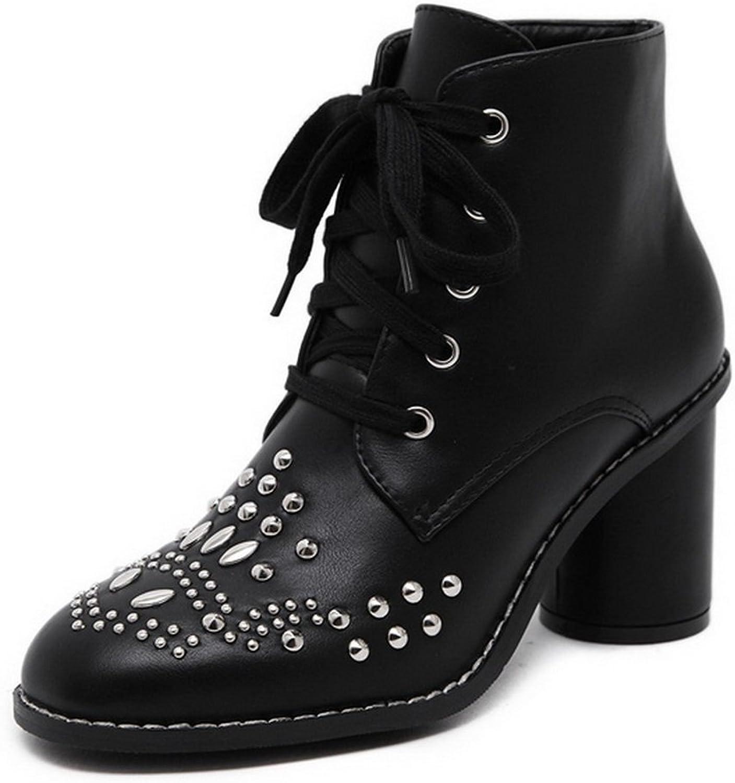AdeeSu Womens Business Slip-Resistant Chunky Heels Urethane Rain Boots