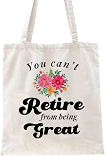 Ihopes Funny Retirement Gifts Reusable Tote Bag Gift for Women Sisters Grandma Coworker Friends   Best Floral Retirement G...