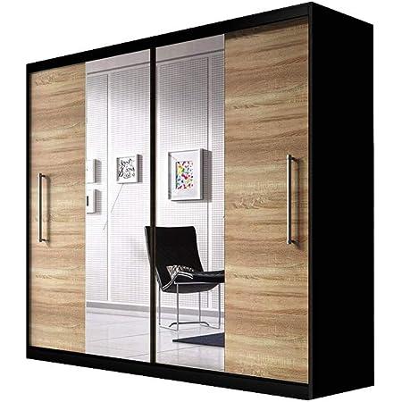 E-MEUBLES Armoire de Chambre avec 2 Portes coulissantes | Penderie (Tringle) avec étagères (LxHxP): 204x218x58 Nico avec Miroir (Noir+ Sonoma+ Miroir)