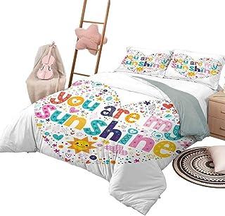 Juego de funda nórdica, colcha con cotización, funda de cama para todas las estaciones, en forma de corazón, con cita motivacional, sol, con estrellas, círculo, nube, diseño infantil, tamaño king, mul