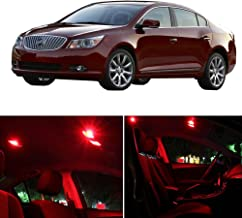 SCITOO Fits For Buick LACROSSE 2010-2016 Interior LED Light 11 Pcs Red Package Kit Replacement Bulbs