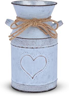 Saclife Shabby French Style Milk Can Country Rustico Vaso con Design Unico a Forma di Cuore e Corda per la Decorazione Domestica