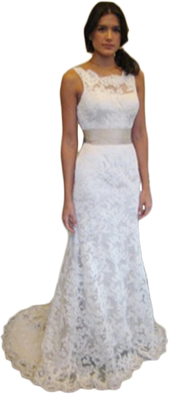Mathena Women's Crew Neck V Back Detachable Belt Long Lace Bride Wedding Dress