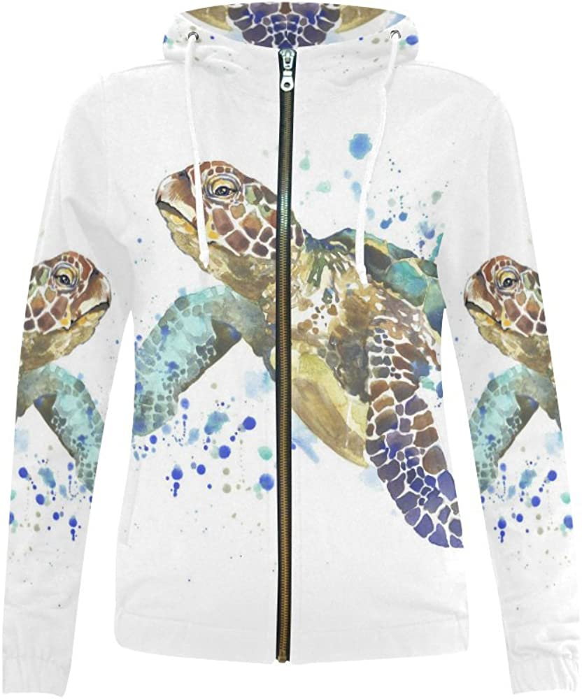 InterestPrint Watercolor All items in the store Sea Turtle Sweat Zipper 70% OFF Outlet Hoodies Women's