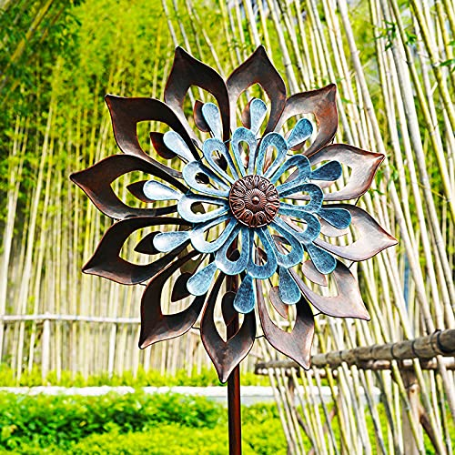 HXGLPSNG Kinetic Sculptures, Metal Windmill - Garden Decoration, 360 Swivel Outdoor Wind Sculpture Spinners, Dual Direction Wind Catcher for Yard Lawn