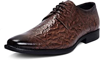 Bacca Bucci Genuine Leather Smart Wedding lace up Formal Dress Shoes-Textured Brown