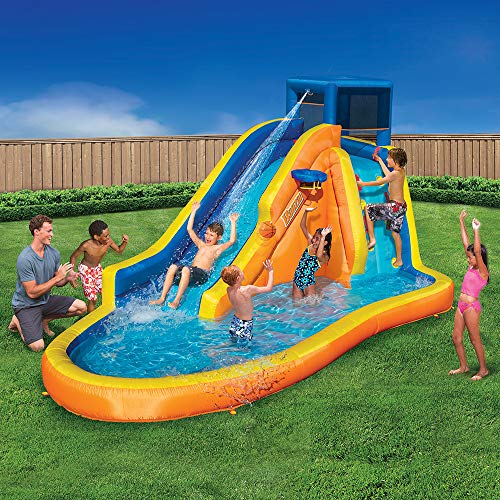 Inflatable Water Slide - Huge Kids Pool (14 Feet Long by 8 Feet High) with Built in Sprinkler Wave and Basketball Hoop - Heavy Duty Outdoor Aqua Blast Lagoon - Blower Included
