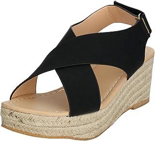 EROUGE Women Espadrille Sandal Platform Sandals Crisscross Slingback Elastic Band Shoes Wedge Sandal (Black,7M US)