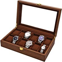 LESTAR Watch Box, Executive 12 Slots Watch Case with Valet, Glass Topped Wooden Watch Display Case Watch Organizer, Jewelry Storage Case
