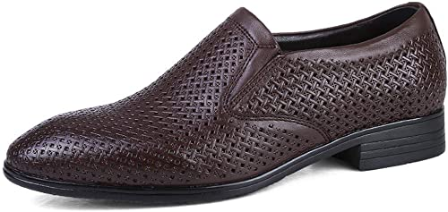 2018 Chaussures de Ville décontractées pour Hommes Oxford avec Souliers de Ville Britanniques et Souliers Formels (Couleur  Brun foncé, Taille  48 EU)