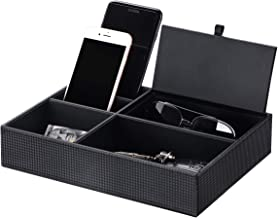 BEWISHOME Mens Valet Tray Dresser Organizer Nightstand Organizer for Mens Accessories Jewelries, Carbon Fiber Faux Leather, Black SSH06C