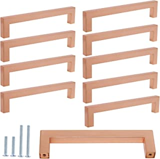 1/2 in Square Corner Cabinet Pulls Rose Gold Finish 10PACK Stainless Steel Bar Kitchen Hardware Modern Satin Copper Drawer Handles 160mm Hole Centers Pull Handle