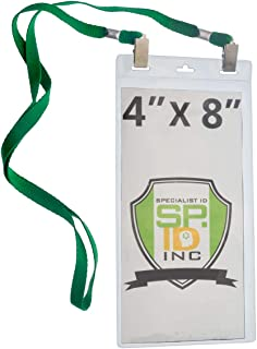 5 Pack - Extra Large 4 x 8 Inch Ticket & Event Credential Badge Holders with Double Sided Lanyards with Two Bulldog Clips, by Specialist ID (Green)