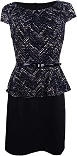 Connected Apparel Womens Petites Jacquard Peplum Wear to Work Dress