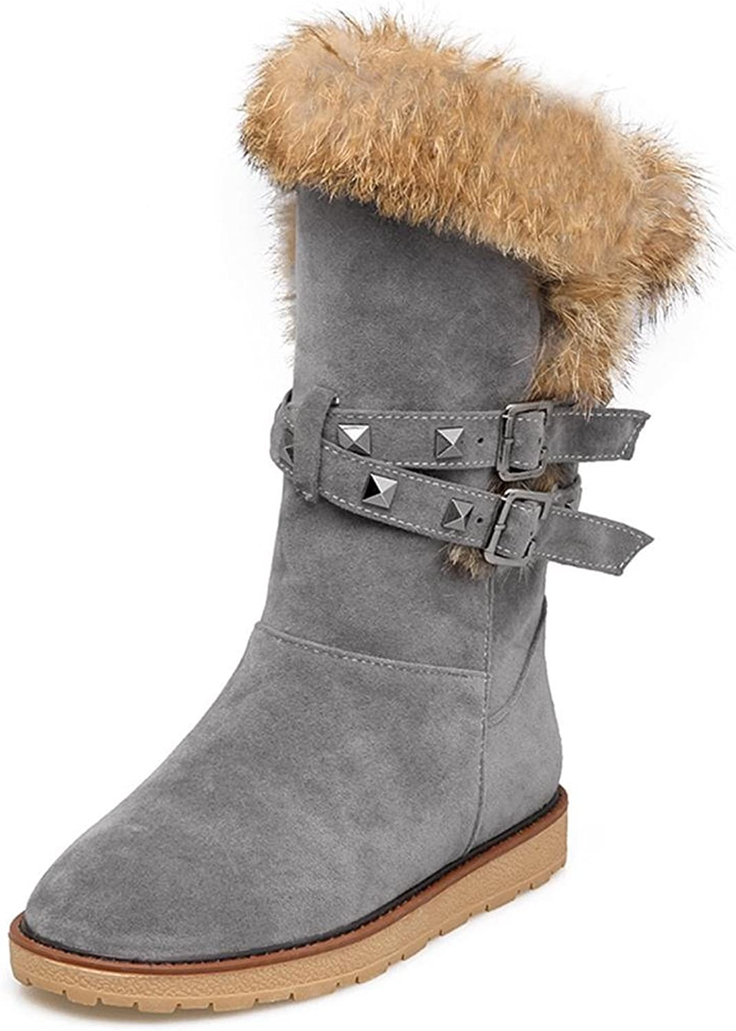 XUANshoes M&M Women Belt Buckle Large Size Snow Boots Flat Scrub in The Tube Female Boots