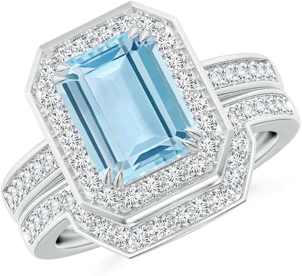 Elegant Touch Emerald Max 65% OFF Cut Aquamarine Outstanding Set Double Pron Ring Bridal