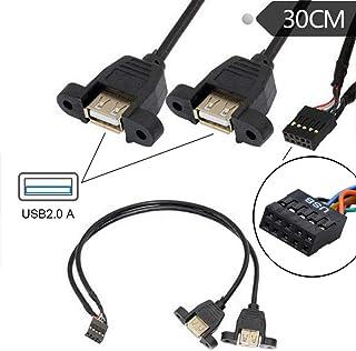 USB 9ピン、マザーボードケーブル 9ピン ネジ穴 2ポート USB 2.0 メスポート デュアル データ転送、USB 2.0パネルマウント型変換ケーブル