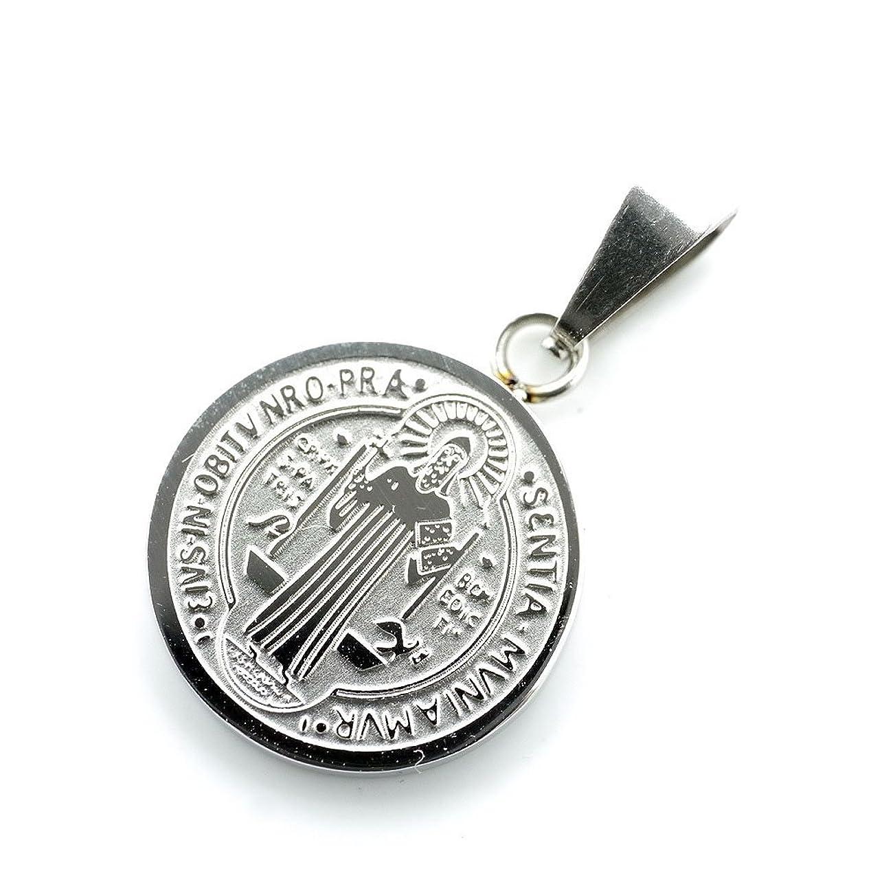 エンドテーブル技術降雨[シルバーワン] on 聖ベネディクトゥスのメダイ Sサイズ ペンダントトップ コイン ヘッド メンズ