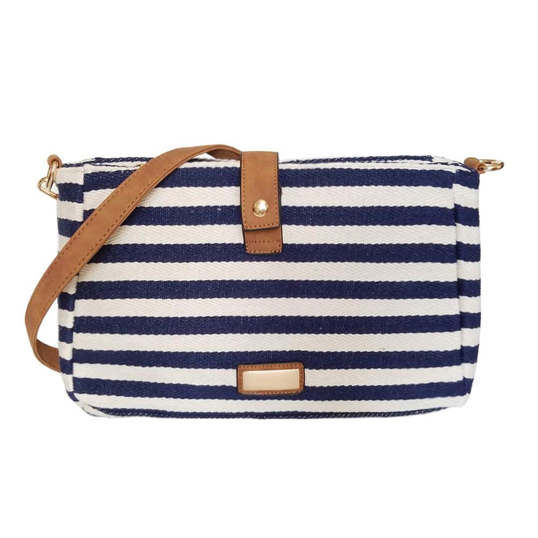 PParth Women Canvas Stripe Medium Crossbody Purse Multi Pocket Messenger Bag
