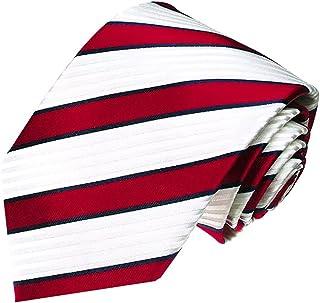 Lorenzo Cana - Rot weiss blau gestreifte Luxuskrawatte aus 100% Seide - Exklusive handgefertigte Marken Krawatte - 84273