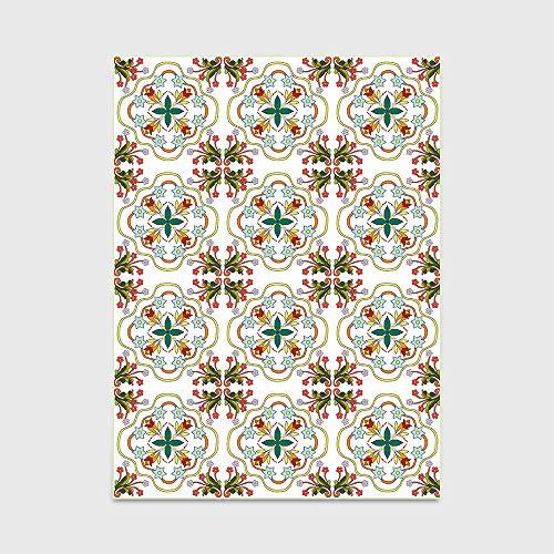 Modern Style Teppiche Europäische und amerikanische Moderne Frische Geometrische Aufkleber Blumen-Rot Grün Fußmatte Schlafzimmer Wohnzimmer Teppichboden Küche Bodenmatte,80 * 160cm