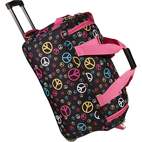 Rockland Rolling Duffel Bag, Peace, 22-Inch