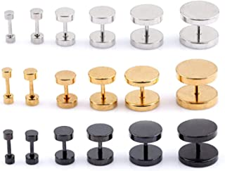 One Piece Fashion Punk Earrings Double Sided Round Bolt Stud Earrings Male Gothic Barbell Black Earrings Men Jewelry Gifts