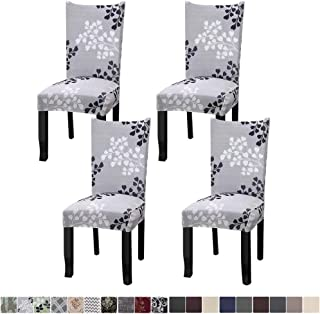 Fuloon 4 Pack Super Fit Stretch Removable Washable Short Dining Chair Protector Cover..