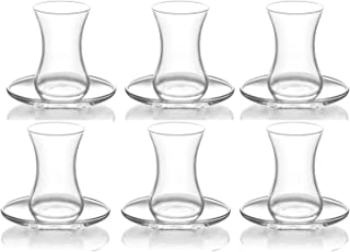 LAV Set of 12 Tea Glasses Cups and Saucers 4.25 oz for Turkish Mint Herbal Tea and Coffee Latte Cappucino Espresso Hot and Cold Drinks Glassware Dishwasher Safe Made in Turkey (DEMET303, 12)